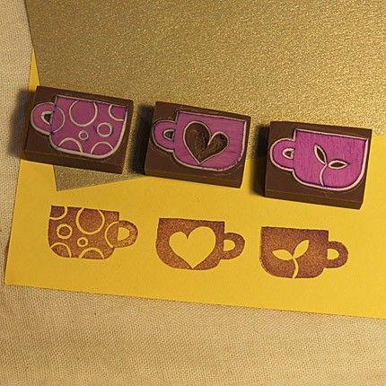 Sellos de goma tazas conjunto de 3   -   Sweet cups set (3 cups 1 set) rubber stamps