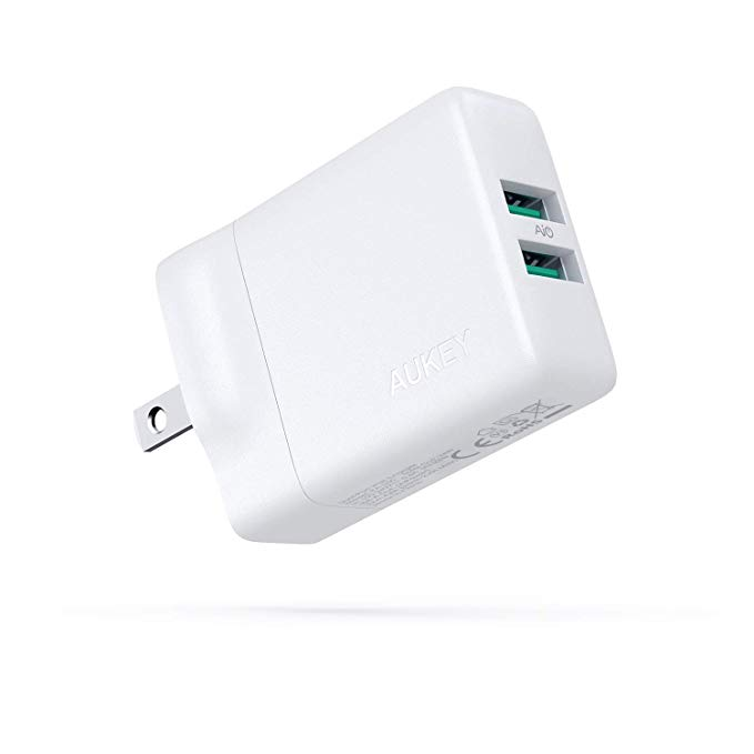 Aukey Dual Port Usb Wall Charger With Gan Tech 24w Compact Usb