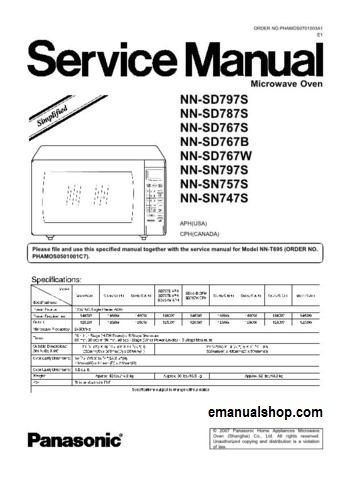 Panasonic Microwave Oven NN SD797S Service Manual Download