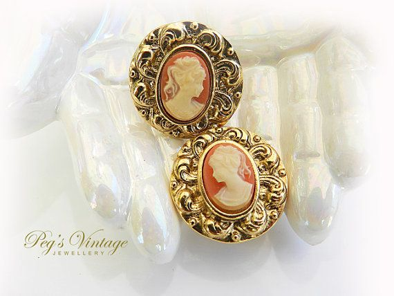 Lovely Cameo Earrings//Antique Gold Tone//Clip by PegsVintageShop