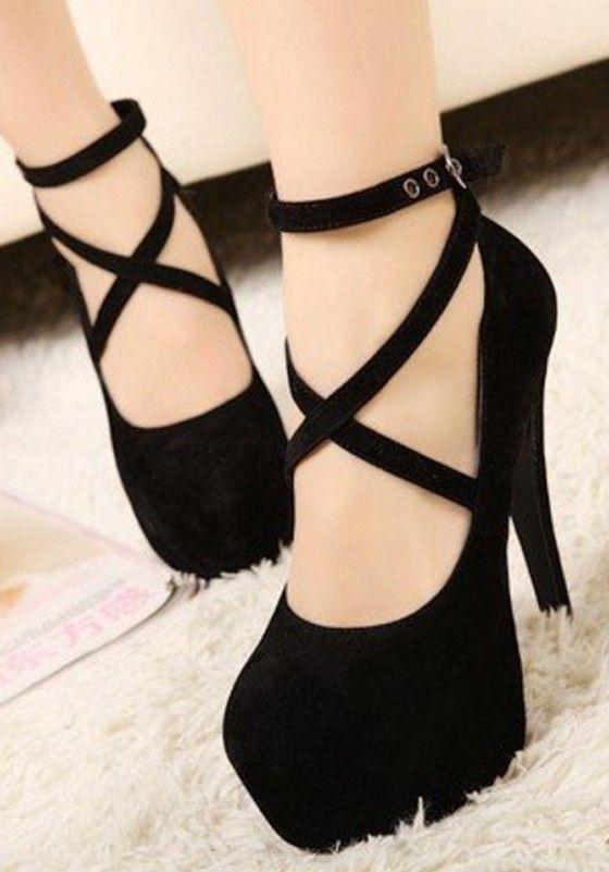 schwarz cross round toe stiletto sexy high heels plattform. Black Bedroom Furniture Sets. Home Design Ideas