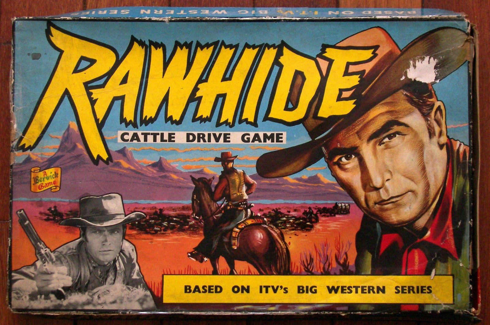 1960 rawhide cattle drive board game tv western clint