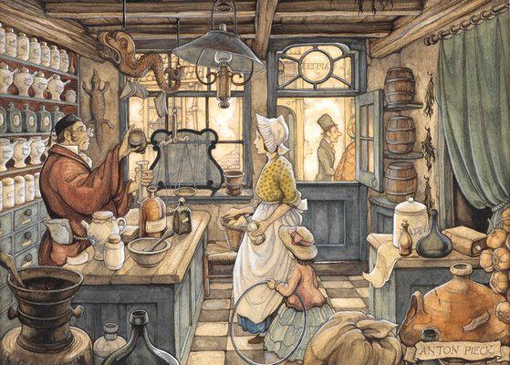 Apotheek by Anton Pieck, gewoon een mooi nostalgisch plaatje van de apotheek.