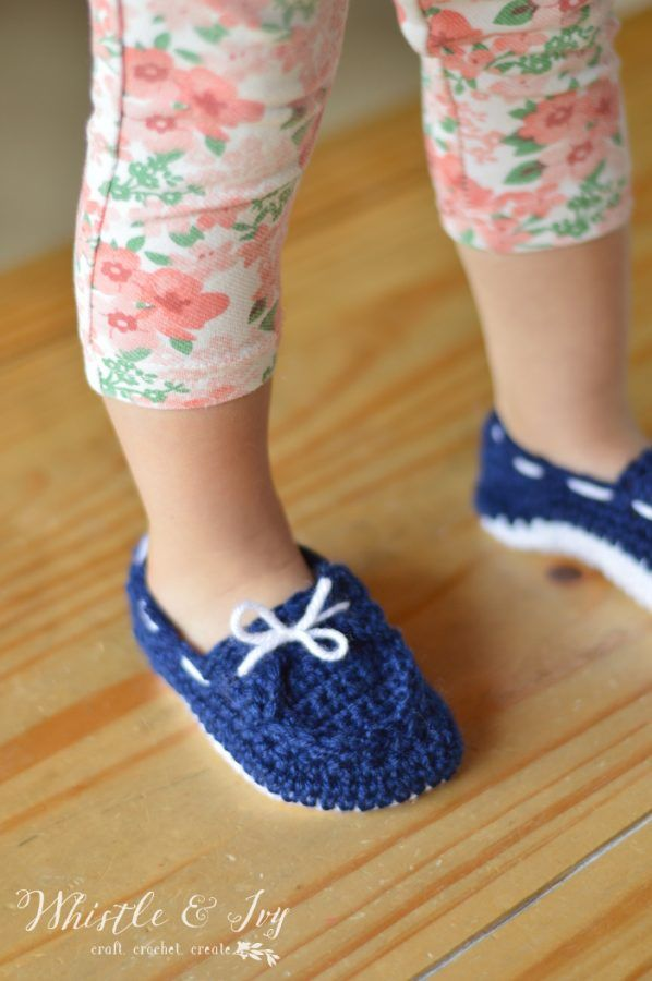 69d5522824 Free Crochet Pattern -Keep your little one s feet cozy with the free  toddler boat slippers pattern. This cute style stays put and is great for  boy or girls.
