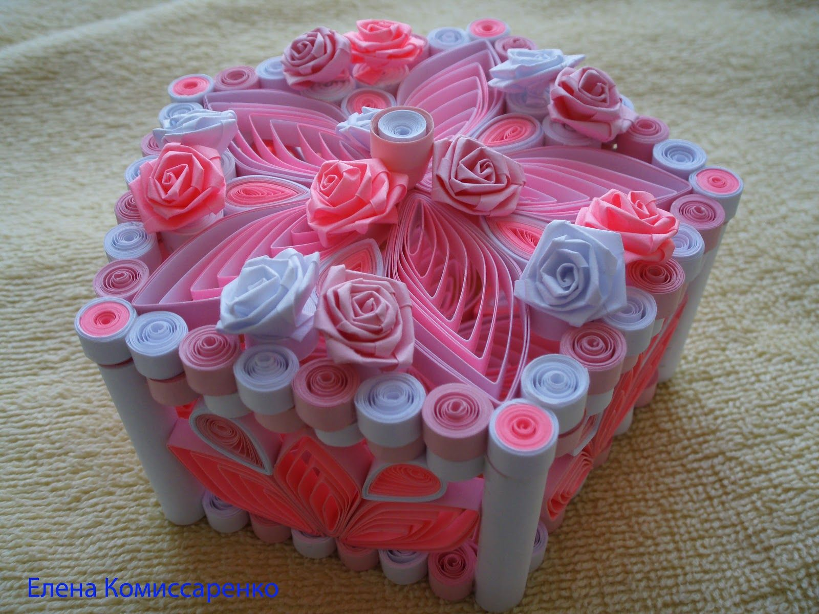 Small world of creativity The small world of creative , Quilled Box decorate  with Roses ,