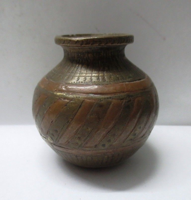ANTIQUE INDIAN BRASS METAL COPPER INLAID MINIATURE HOLY WATER POT LOTA. 1850 s ANTIQUE INDIAN BRASS METAL COPPER INLAID MINIATURE HOLY