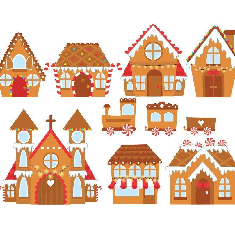 Christmas Gingerbread Houses Digital Clipart Set