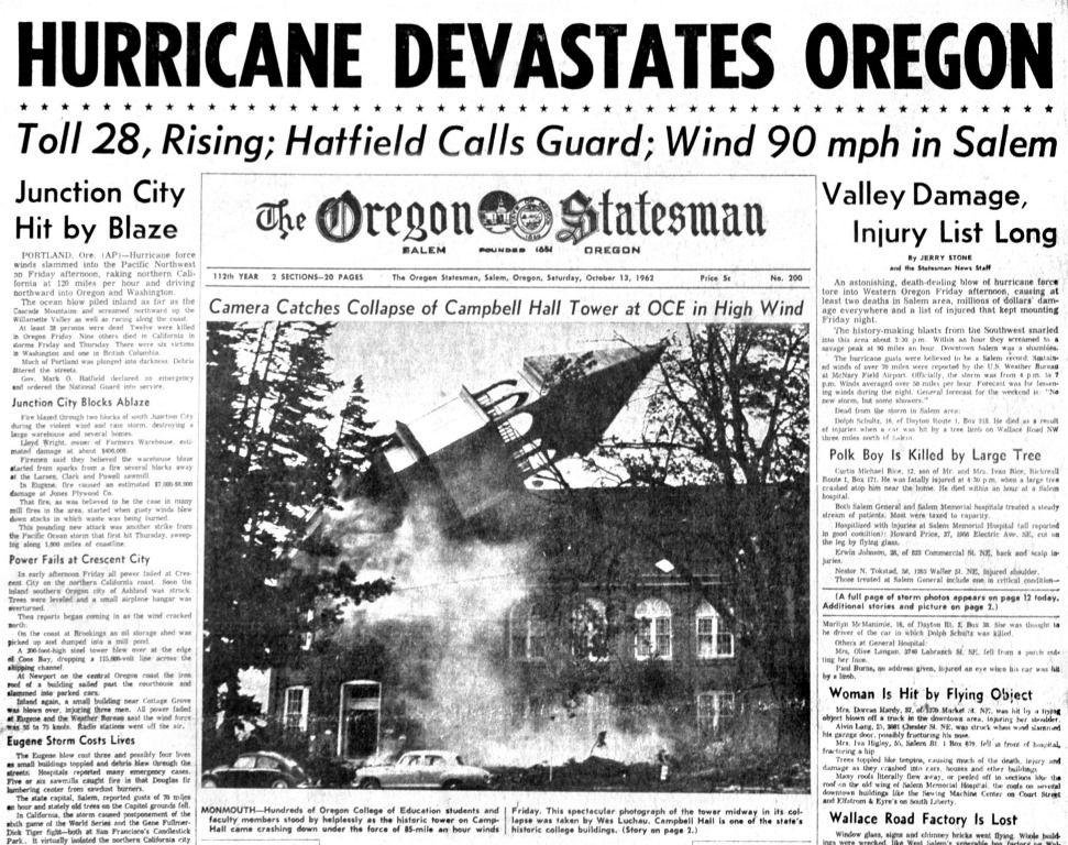 Columbus Day Storm Oct 12 1962 State Of Oregon Oregon Natural Disasters