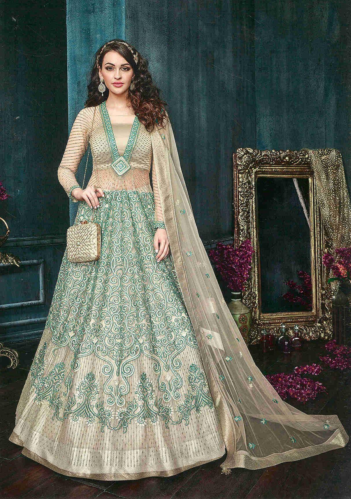 Bridal Wedding Bollywood Indian Anarkali Designer Kameez Long Suit Party Gown