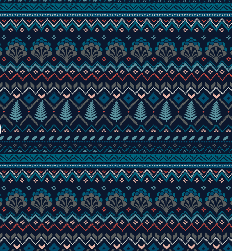 Fairisle Placement - Navy And Teal