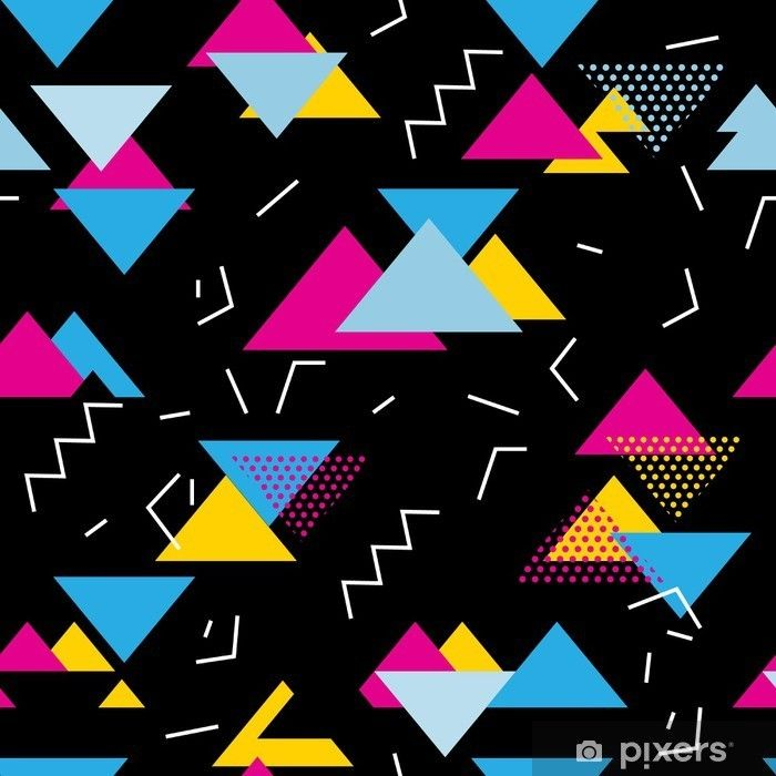 Seamless geometric pattern with magenta, blue, yellow triangles in pop art, retro 80s style. With lines, zigzag, dot on black background. Wall Mural • Pixers® - We live to change