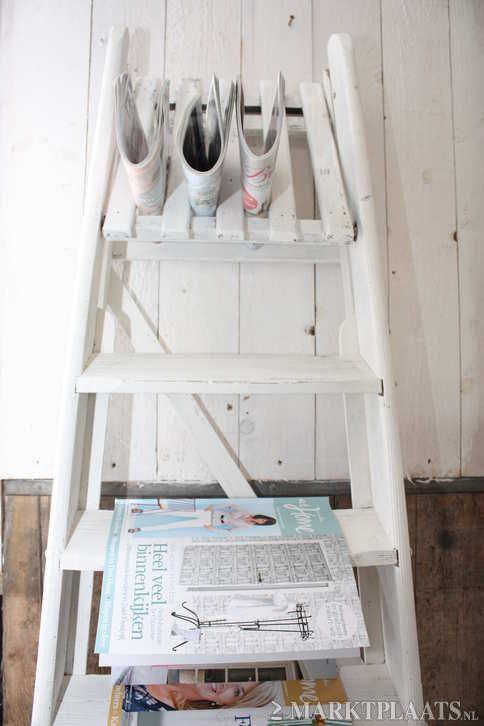 Brocante houten schilderstrap huis en inrichting woonaccessoires overige for Deco houten huis