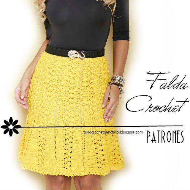 Todo crochet: Patrones de Falda Crochet Evasé | seleccion ganchillo ...
