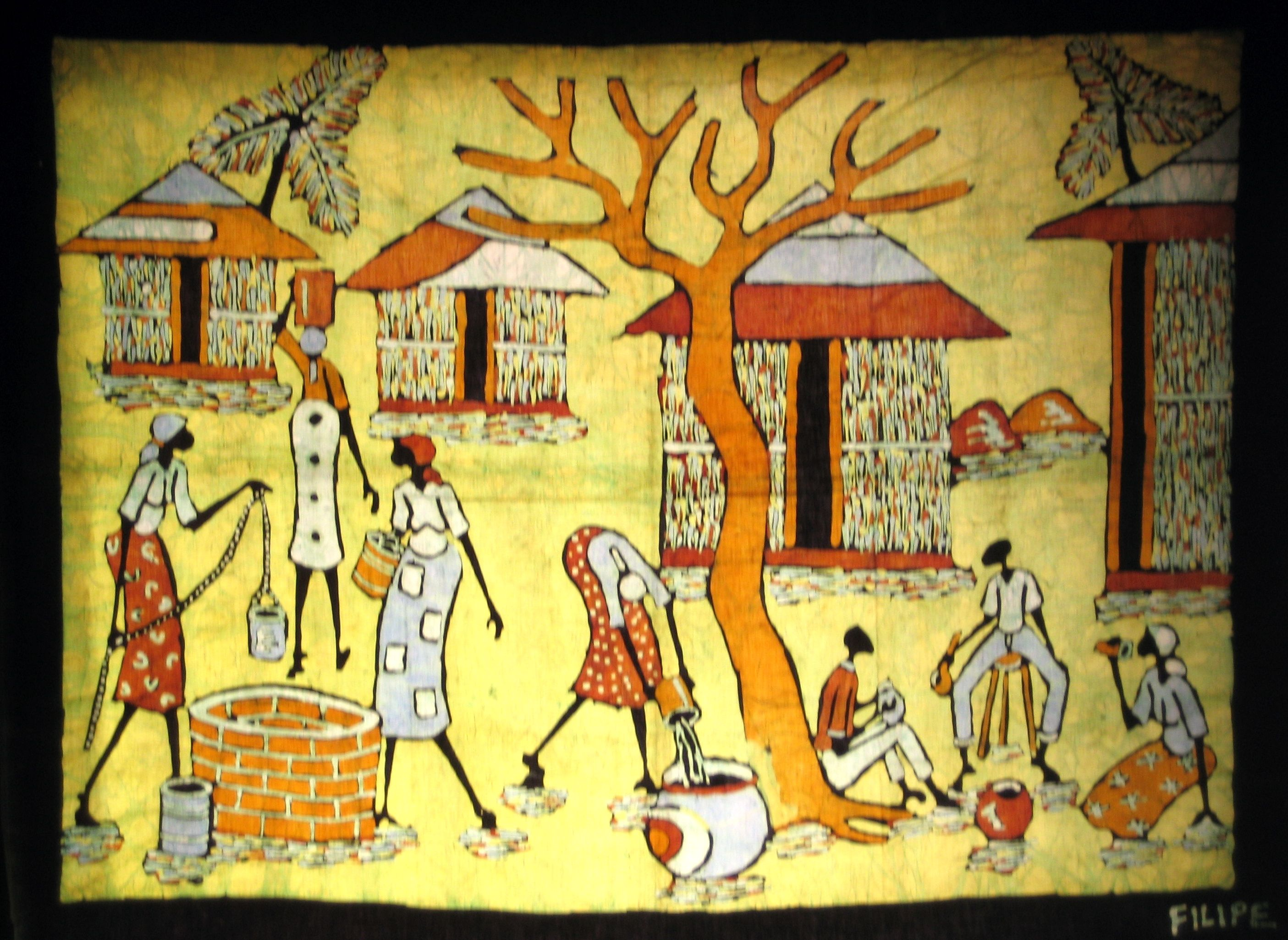 South African Batik | This wax batik portrays a traditional village ...