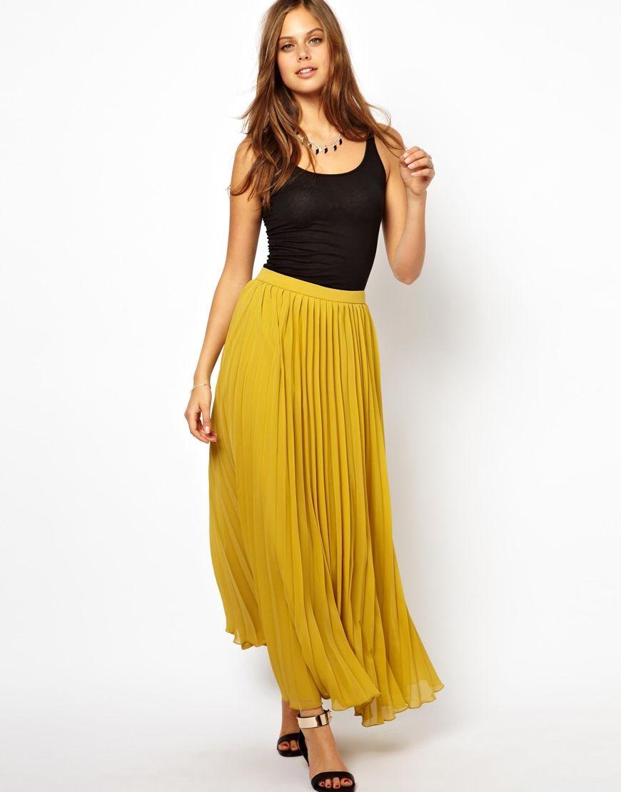 Nwt zara long fine pleat skirt accordion pleated maxi yellow ...