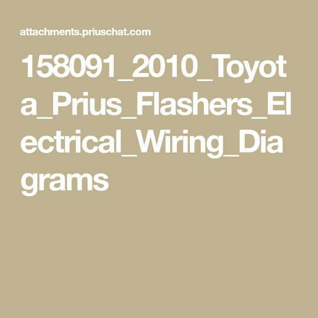 158091 2010 Toyota Prius Flashers Electrical Wiring