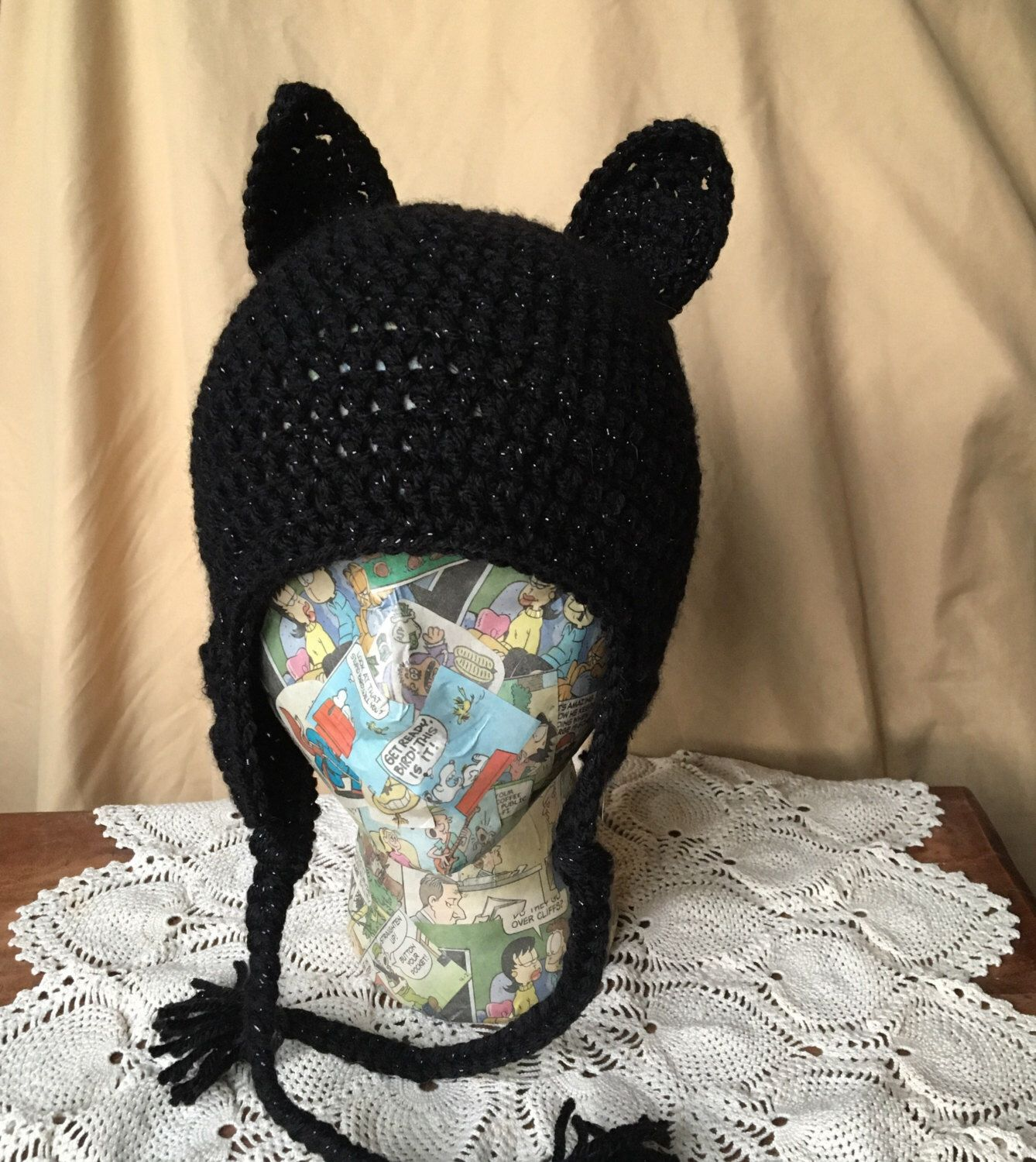 Crochet Black Cat Hat Etsy Cat hat, Crochet, Crochet