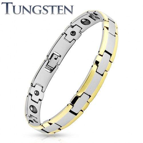 Bracelet homme tungstène bordures dorées