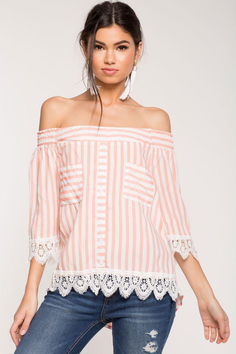 Stripe Crochet Off Shoulder