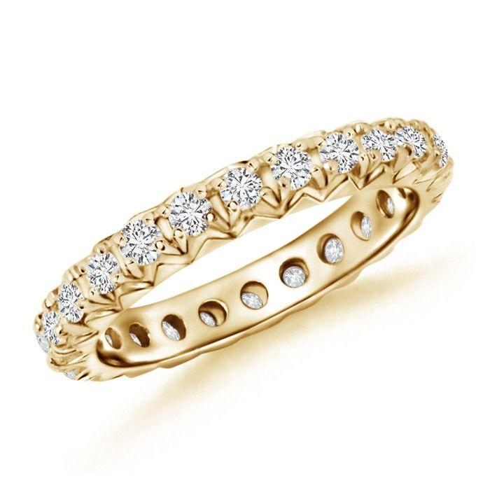 Angara Milgrain Round Diamond Wedding Band in Yellow Gold Vwl7ywG