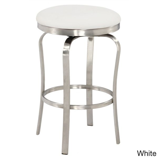 Somette Modern Backless Upholstered Stainless Steel 26 Inch Counter Stool