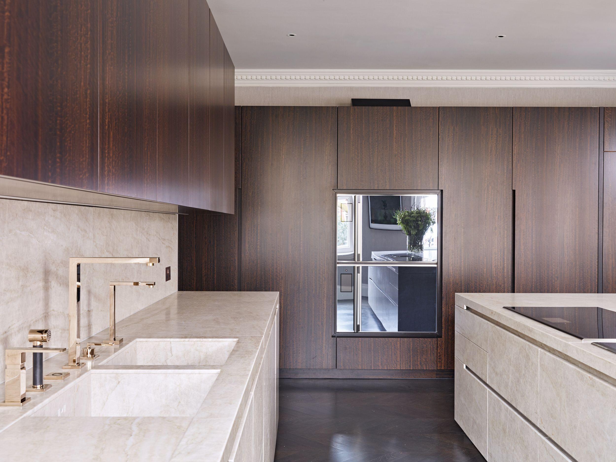 Eggersmann Design Taj Mahal Quartzite Island With Smoked Eucalyptus Veneered Cabinetry London Kitchen Contemporary Kitchen Design