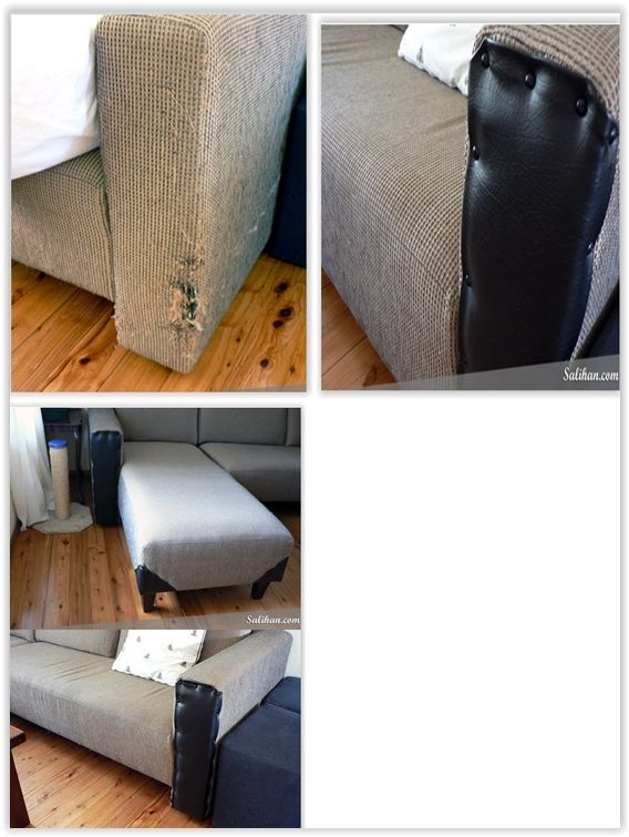 Repairing A Cat Scratched Sofa Using Black Vinyl Upholstery Tacks Total Cost Is Less Than 20 Sofa Upholstery Upholstery Trends Cleaning Upholstery