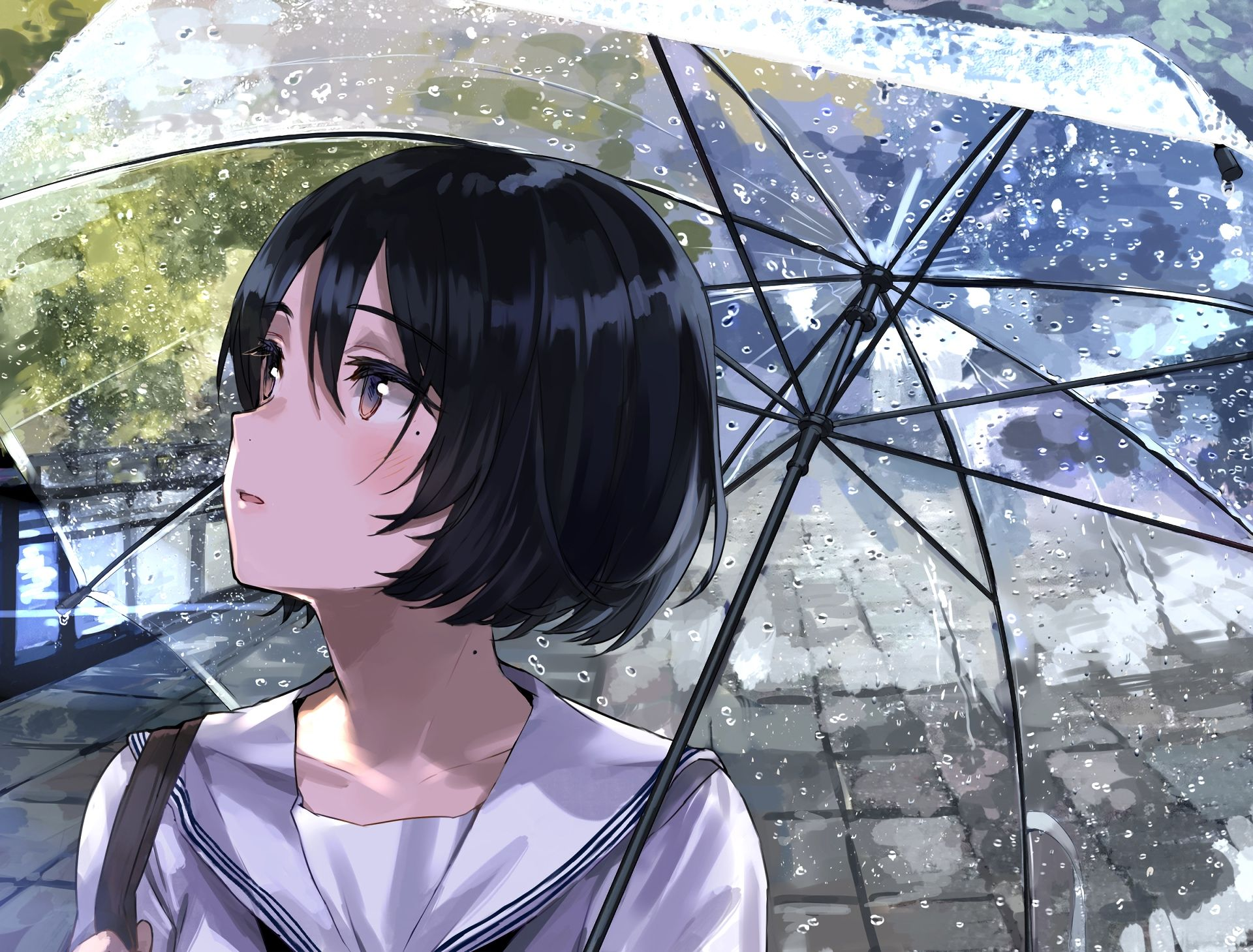 umbrella anime girl cute rain original Anime Wallpaper