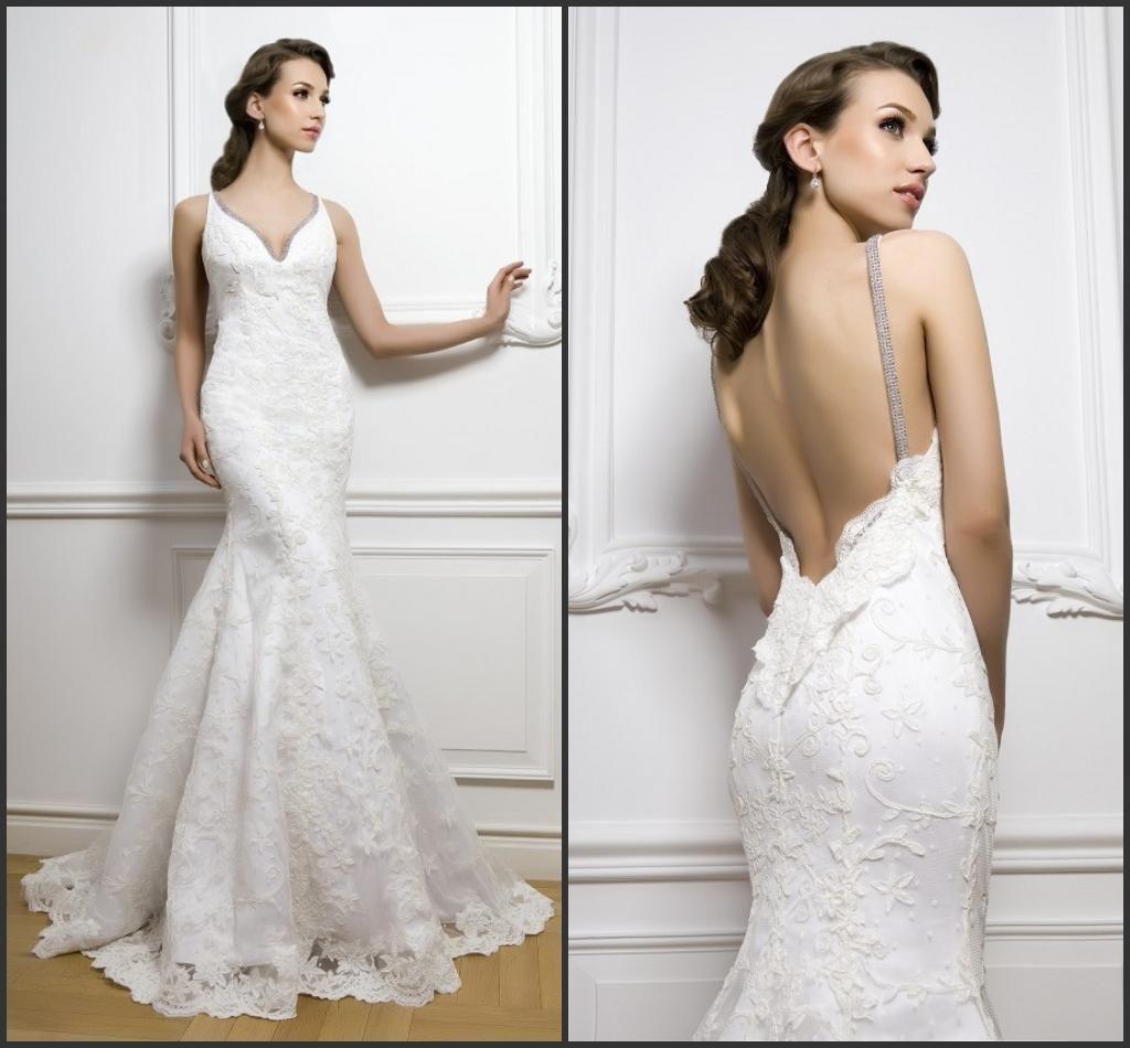 Trumpet Mermaid Chapel Train V-Neck Backless Wedding Dress 2014