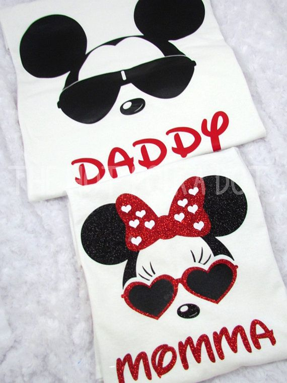 • Design ~ Matching Cool Minnie / Mickey Mouse Disney Unisex T - Shirts • Shirt Style ~ Unisex White T-Shirts **UNISEX SIZING** • Design Colors ~ as shown. Minnie shirt is Glitter Vinyl Listing includes Two T-Shirts: 1 for Mom and 1 for Dad >>> Please leave wording (name) how you want it on each shirt. (Mom, Dad, Mommy, Daddy, Soul & Mate, Nick Names or Your Names, etc) Sizes 2XL and larger are an additional cost, please message me for custom listing if these sizes are needed. Also availa...