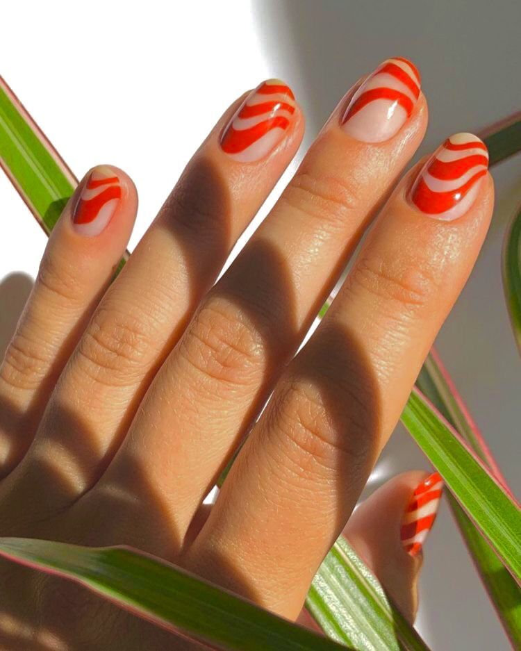 Red Swirly Nails for Aries