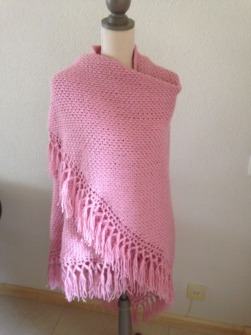 Omslagdoek In Granietsteek Crochet Moss Stitch Granietsteek