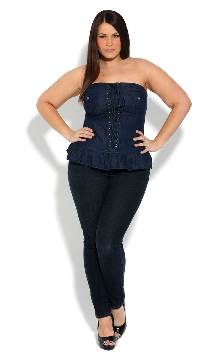 67f1bb18ce4 Plus Size Denim Ruffle Corset 14-16