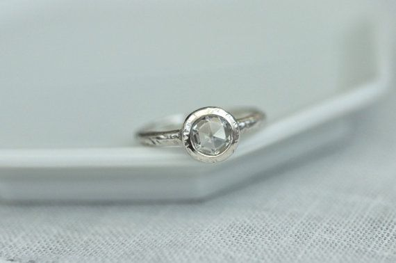 Organic Design Rose Cut Moissanite Ring by PorterGulch on Etsy