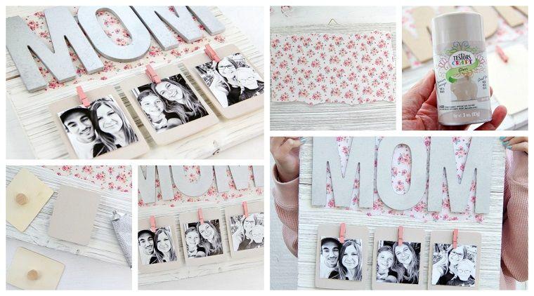 Geschenk zum Muttertag, hängende Fotos, geschriebene Mutter in Holz