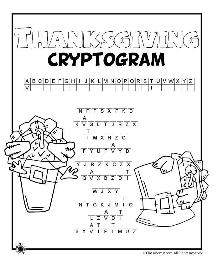Printable Worksheets thanksgiving word search worksheets : Free printable Thanksgiving Cryptogram, great for older kids ...
