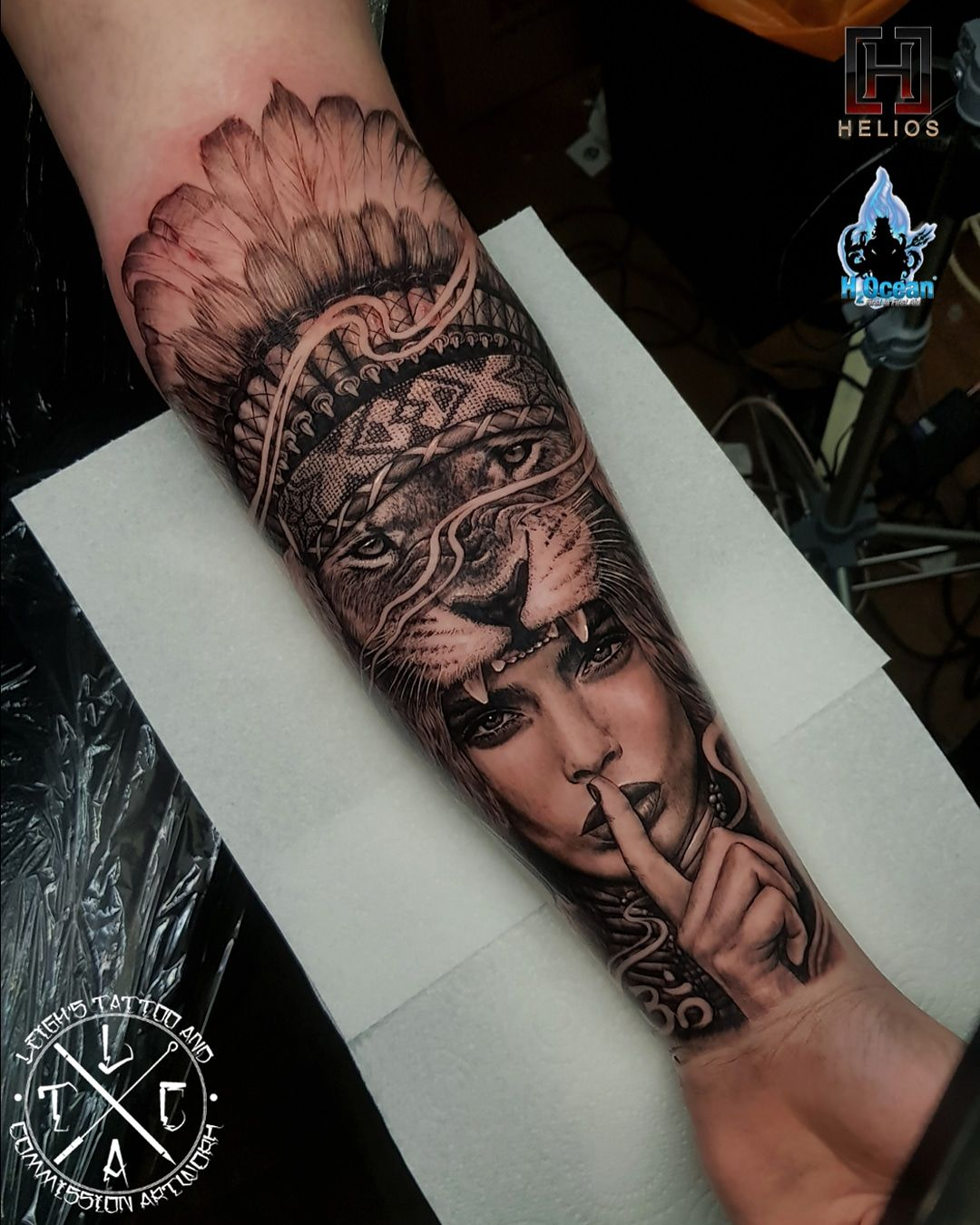 Warrior Girl With Lion And Indian Headdress Forearm Tattoo Done