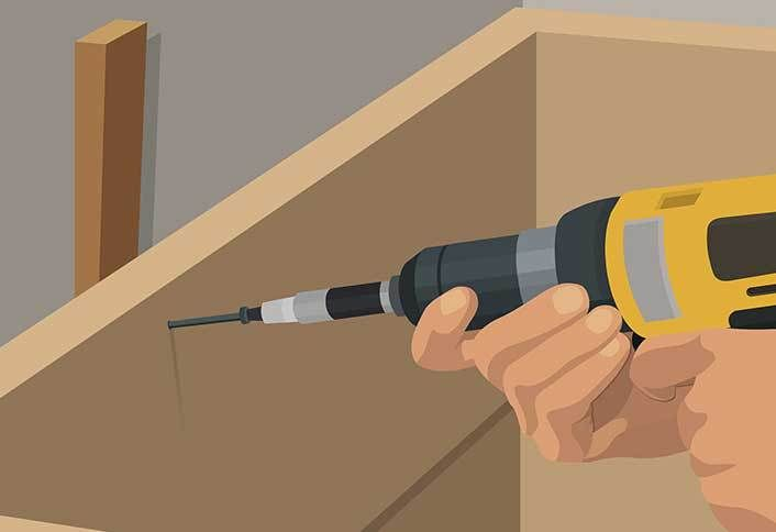 drill countersink pilot holes install base cabinets side peninsula installed upper cabinets