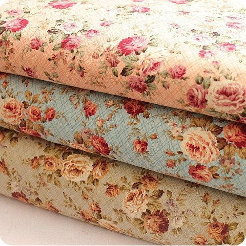 Floral Fabric Cotton Shabby Chic Green Pink Blue Spring Flower
