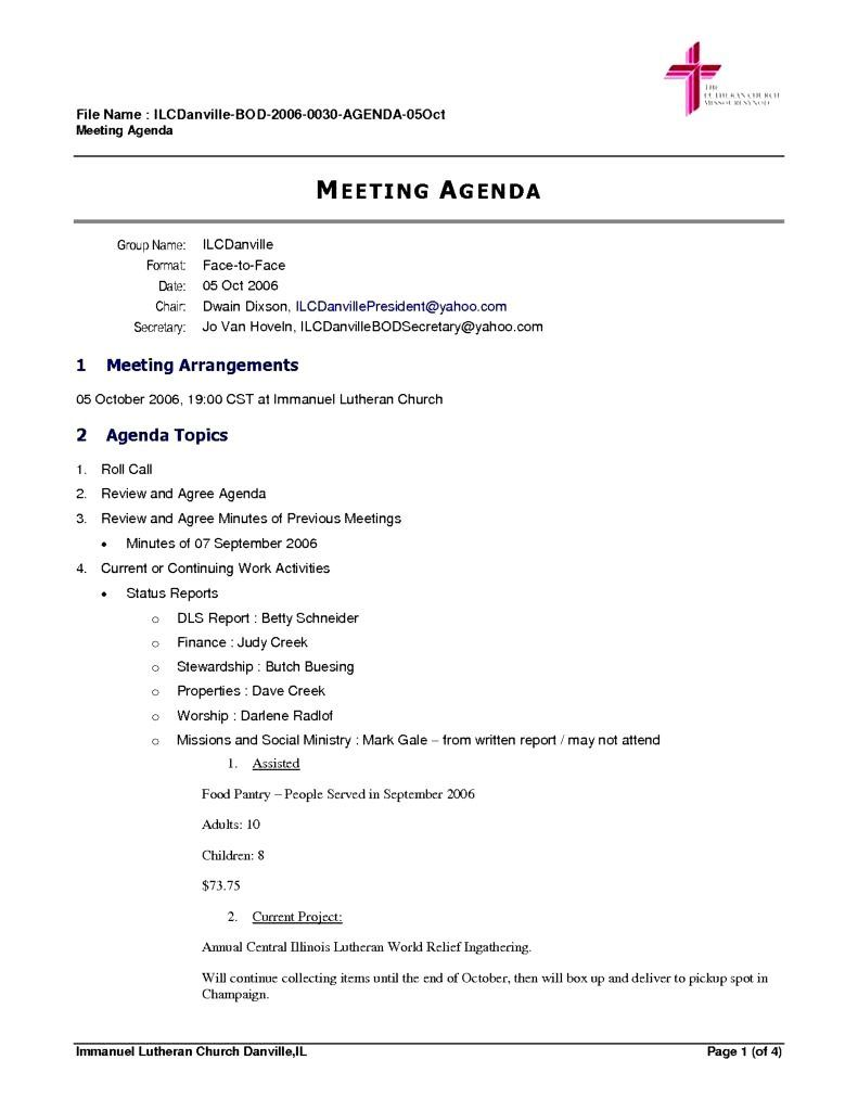 De Board Agenda Template Abr Board Meeting Agendas Include Items For  Managing Routine Business And Tackling Special Projects  Business Meeting Itinerary Template
