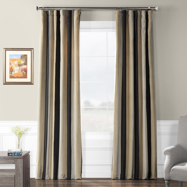 Sake Black Gold Designer Striped Faux Silk Curtain Striped