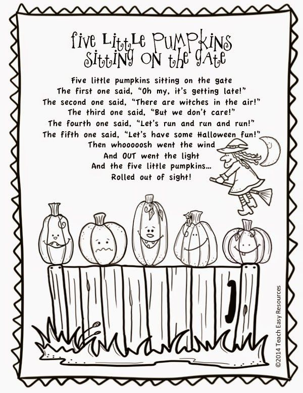 Free Five Little Pumpkins Sitting On The Gate Poem And Colouring