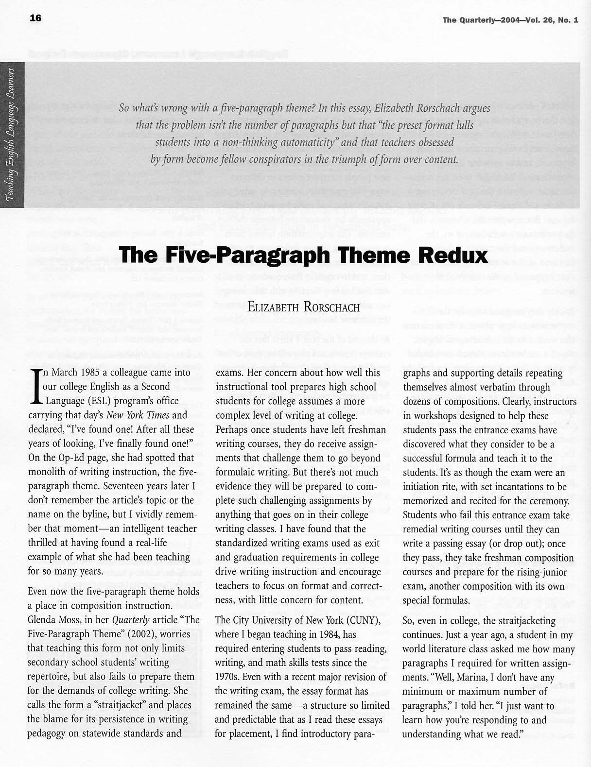 author elizabeth rorschach frame what are the constraints of  author elizabeth rorschach summary what are the constraints of teaching the five paragraph essay rorschach argues that its preset format can lull