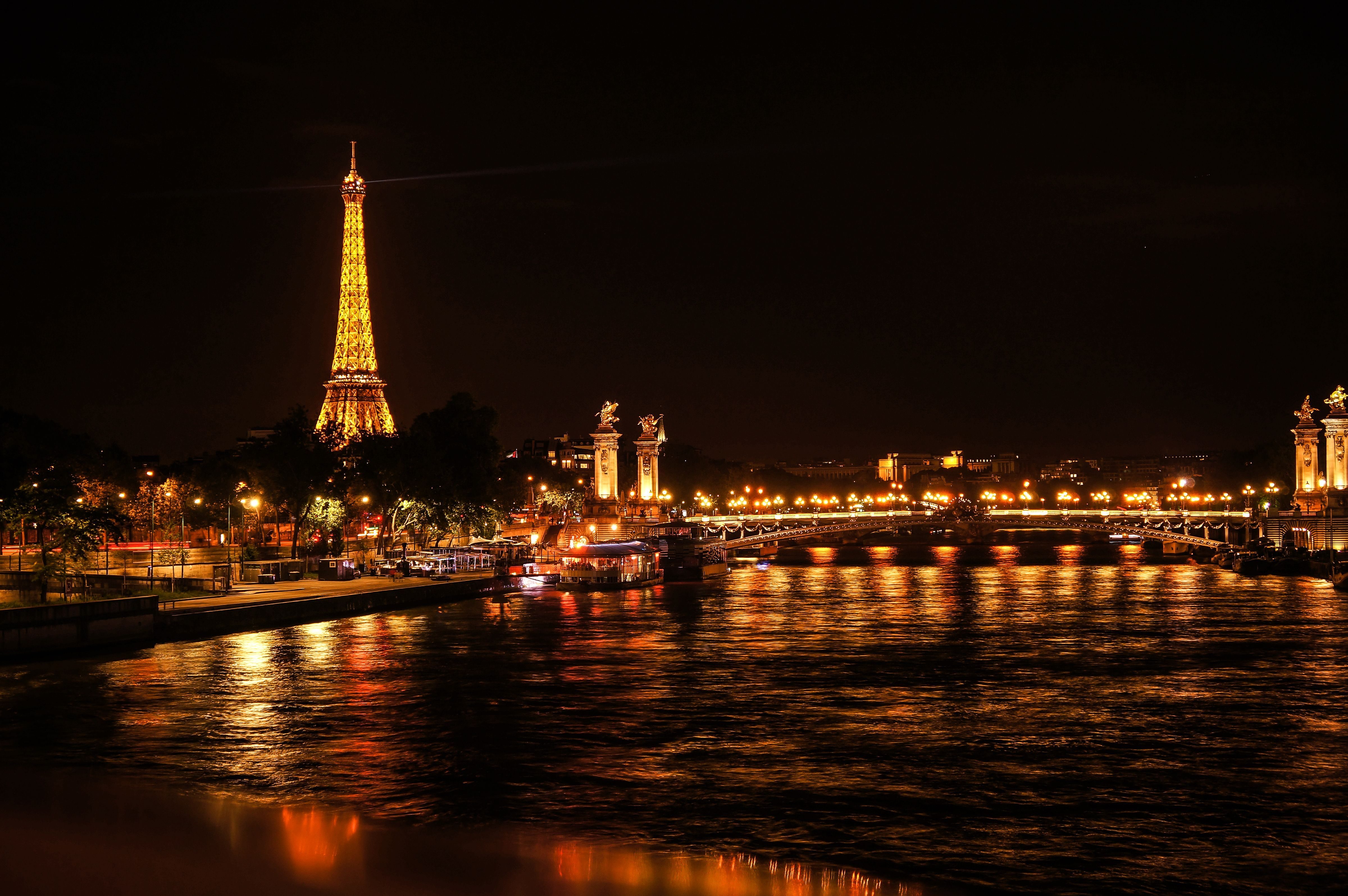 Eiffel Tower At Night By Juan Antonio Varetto Rendic Reflections