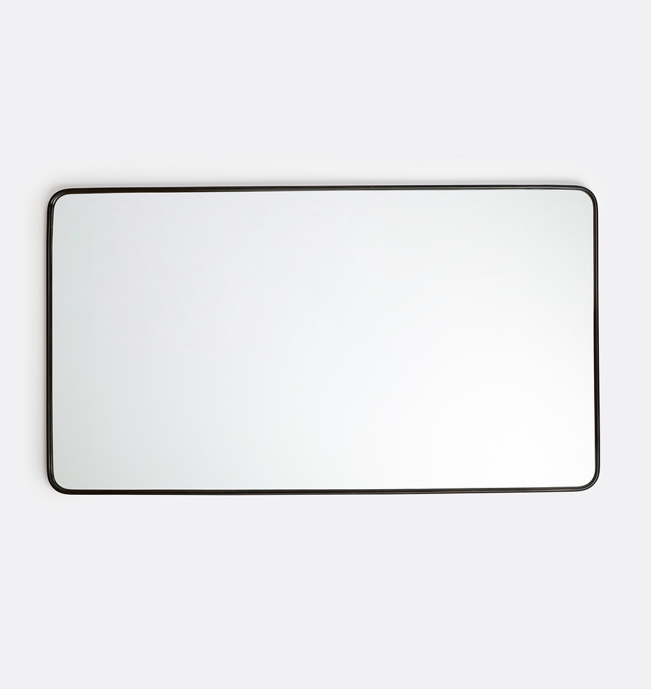 54 X 30 Rounded Rectangle Metal Framed Mirror Rejuvenation Metal Frame Mirror Mirror Frames Black Mirror Frame