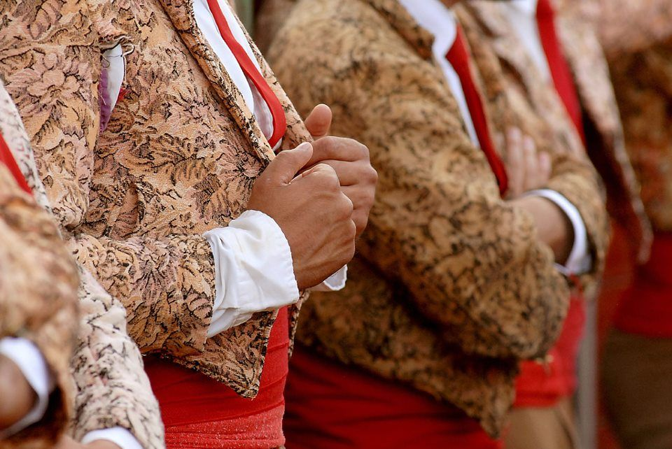 """Portugal - The tradictional outfit of the """"forcados"""" (group of 8 men that - in the traditional bullfight Portuguese style -  dominate the bull by using their combined strength)."""