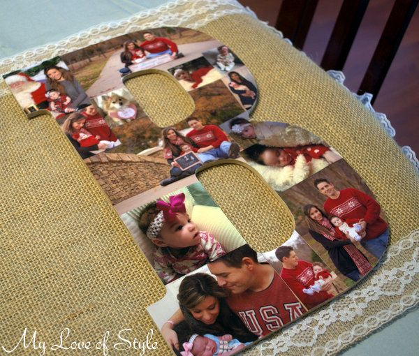 diy wooden letter photo collage