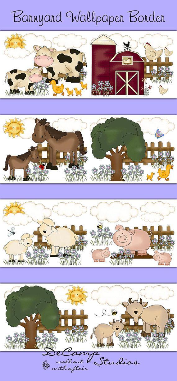 FARM NURSERY BORDER Decal Wall Art Barnyard Animal Stickers Decor - Barnyard nursery wall decals