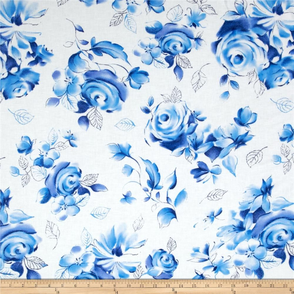 Michael Miller Blue & White Sharon Large Floral Azure from ...
