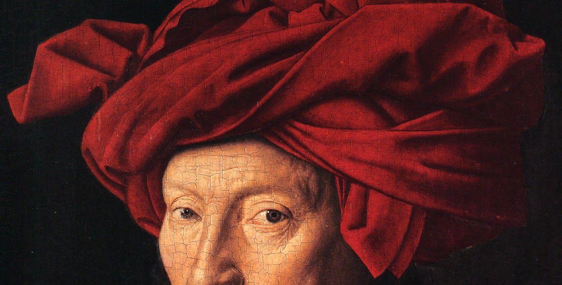 Jan van Eyck. Retrato de hombre con turbante rojo, 1433. National Gallery de Londres.Detalle.